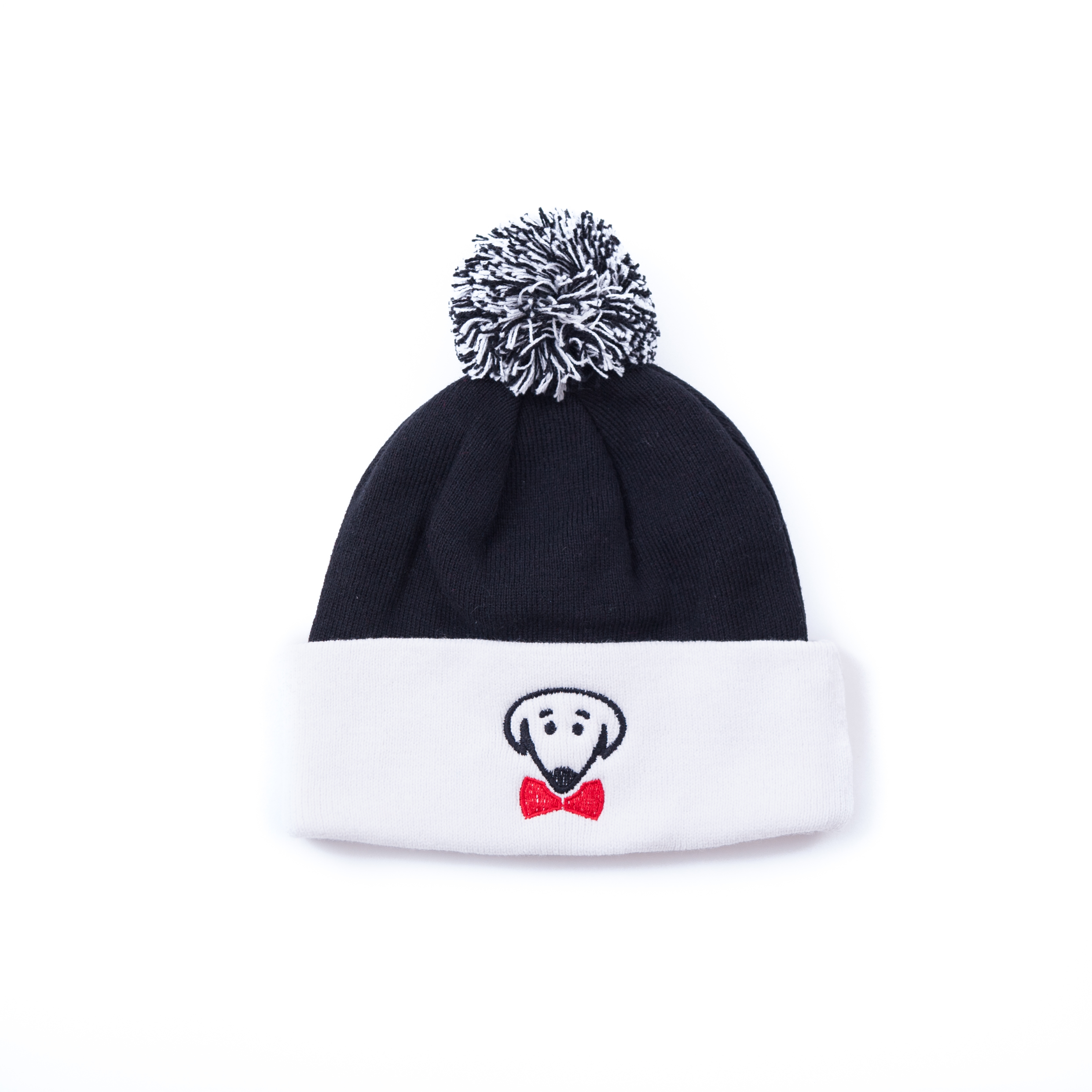 Black and white winter knit hat