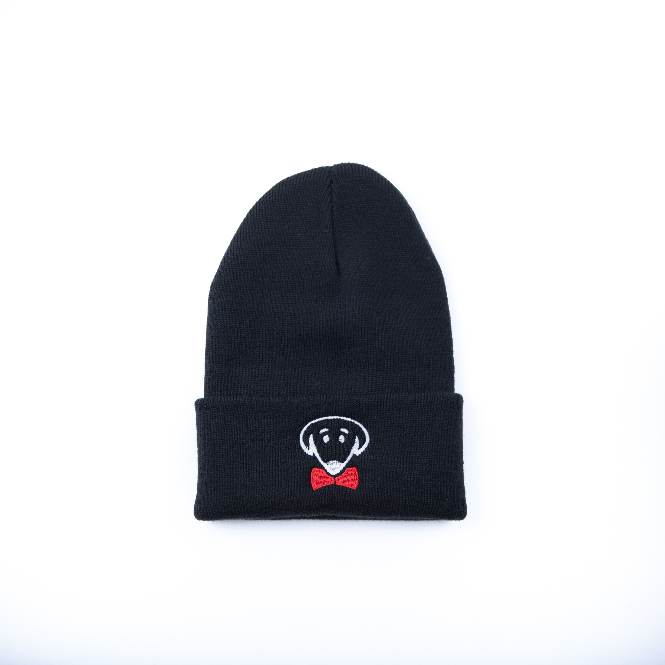 Black knit hat beanie with dog logo