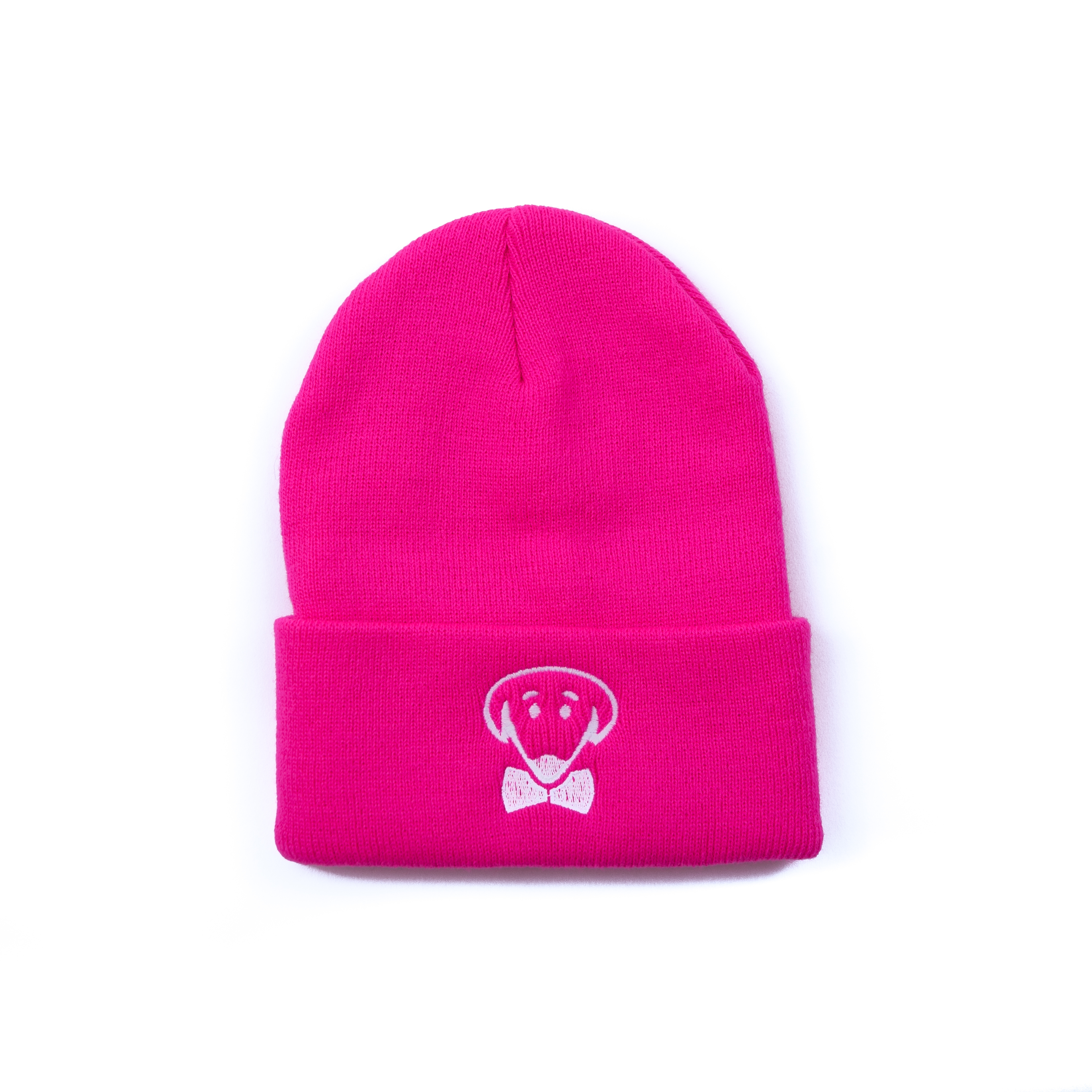 Neon blue or neon pink knit hat beanie with dog logo