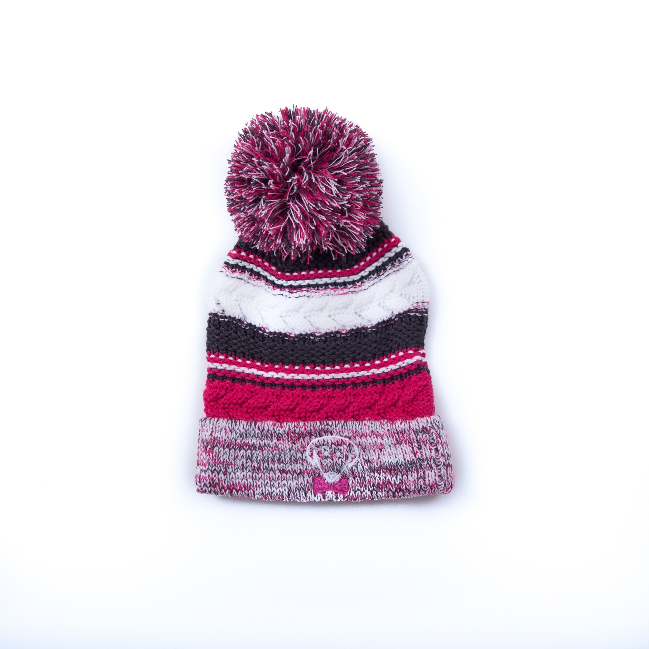 Pink raspberry, iron grey, and white winter knit hat – Stay Warm, Look Cute