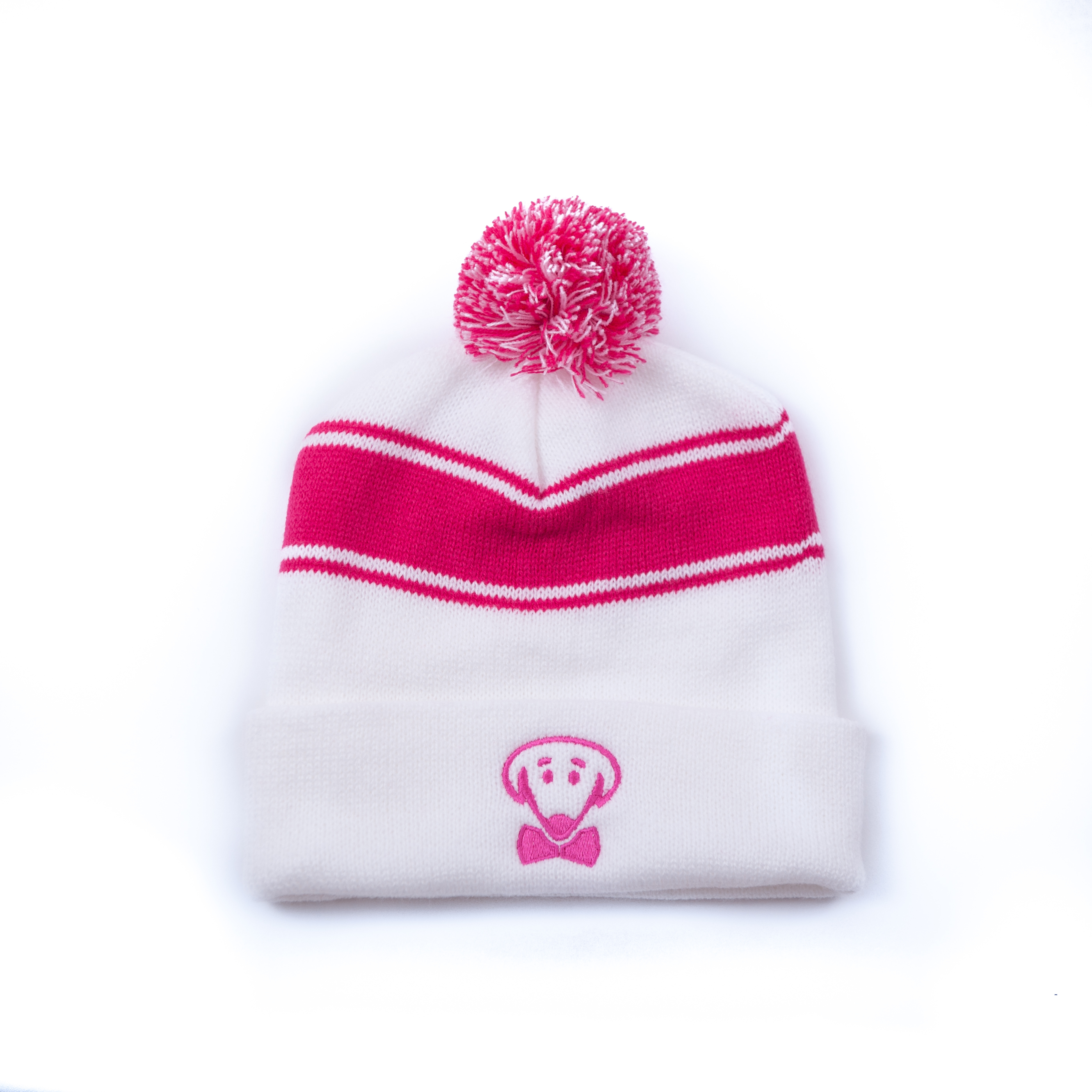 Pink and white winter knit hat-Stay Warm, Look Cute