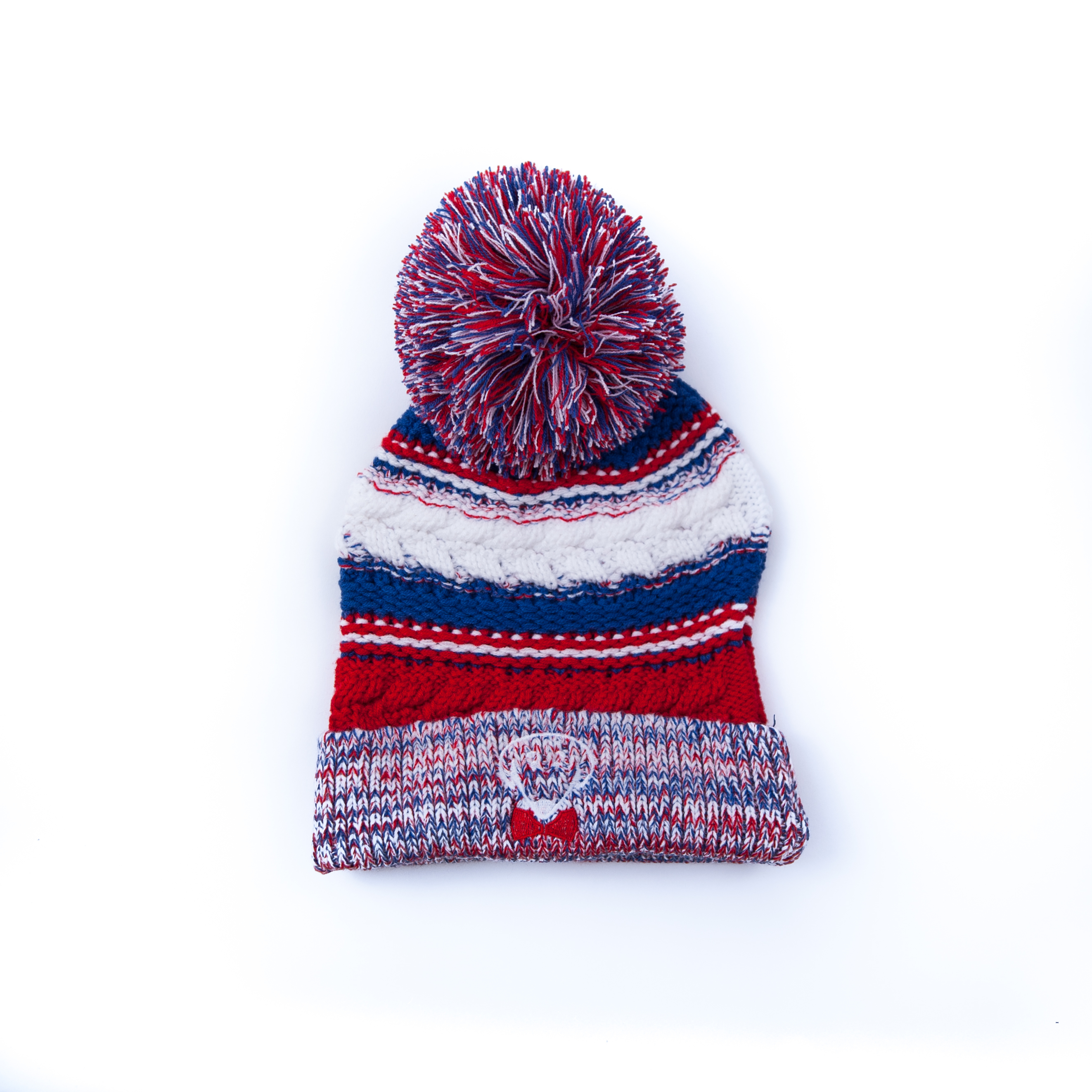 Red, blue, and white winter knit hat – Stay Warm, Look Cute