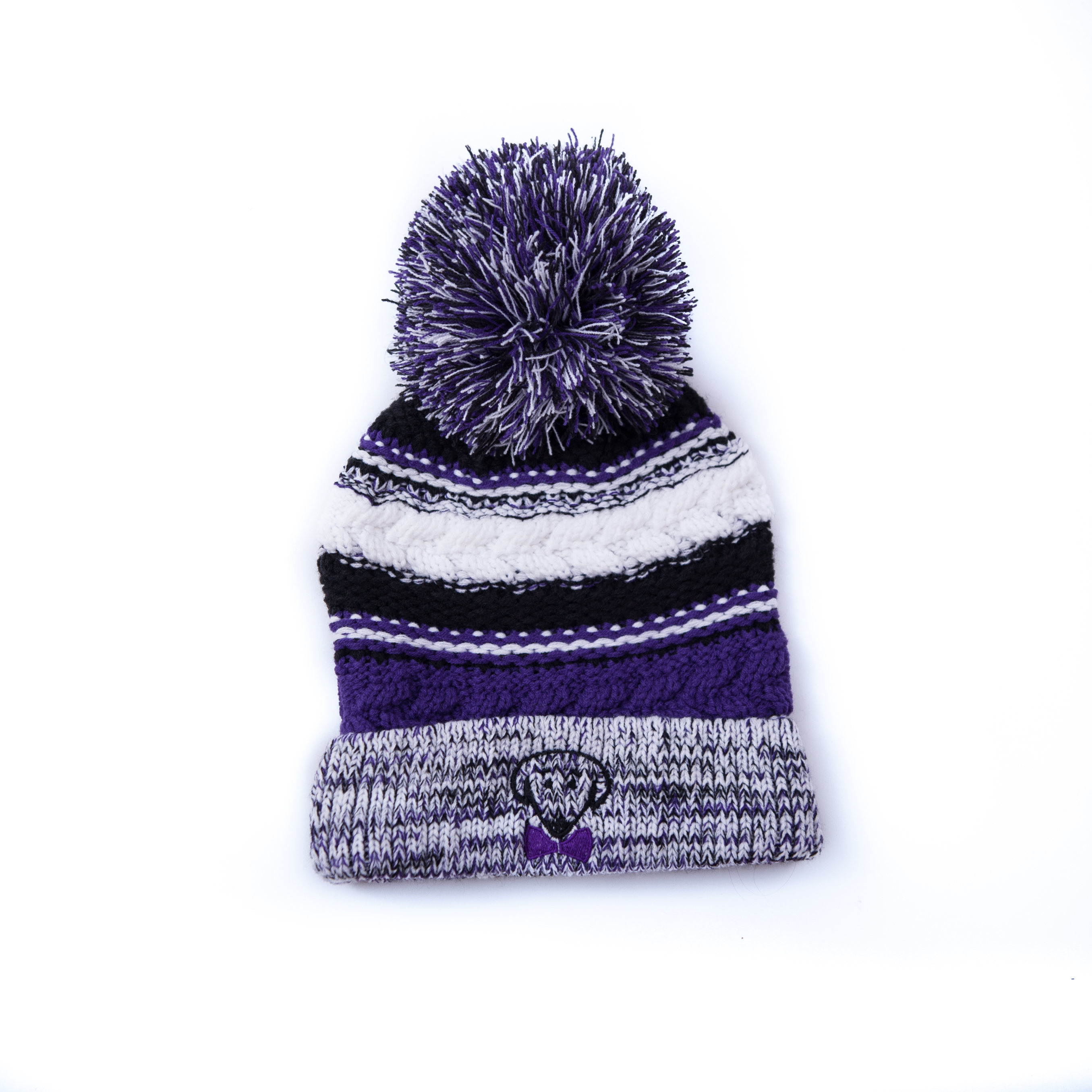 Purple, black, and white winter knit hat – Stay Warm, Look Cute