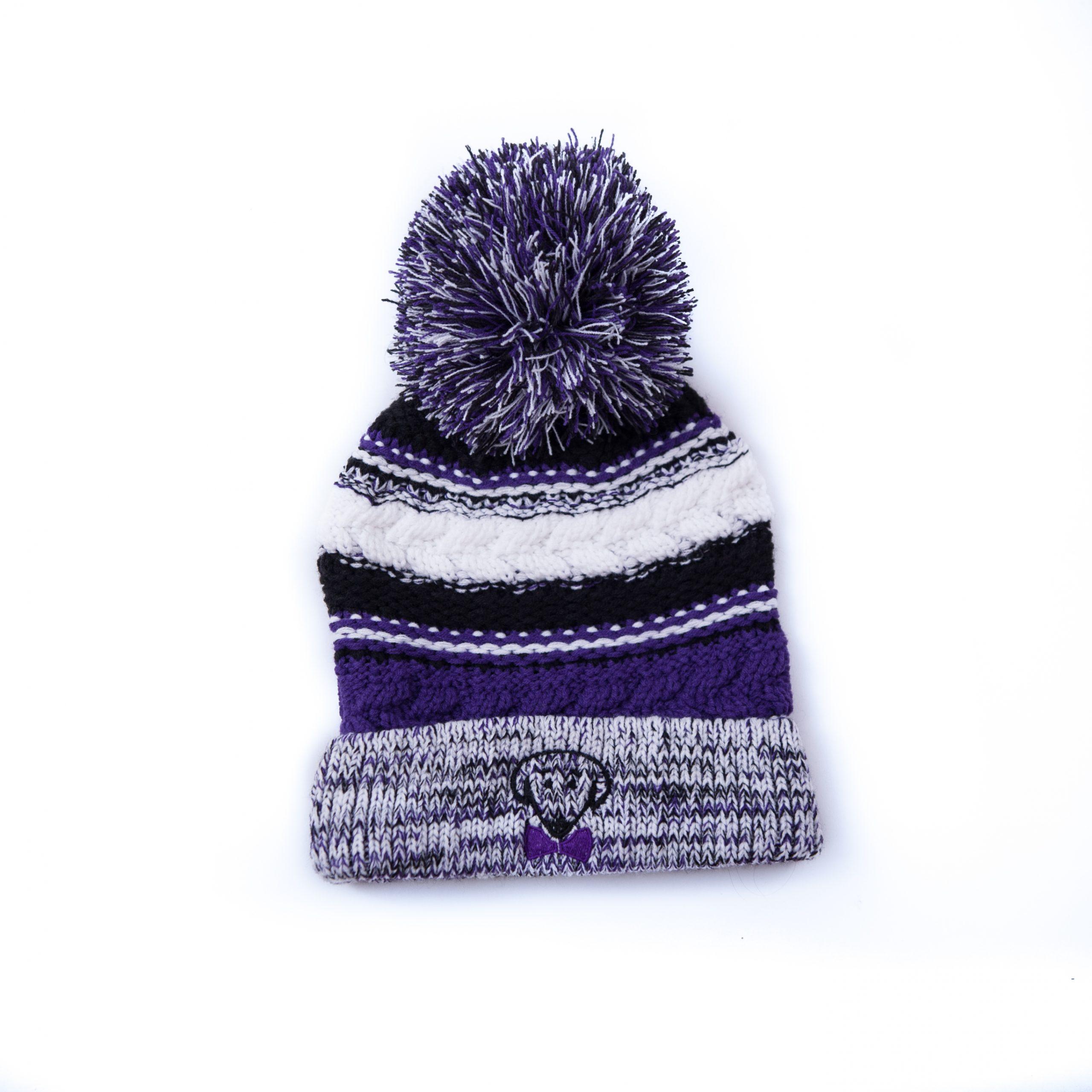 Beau Tyler Riley winter knit purple, black, and white hat – Stay Warm, Look Cute
