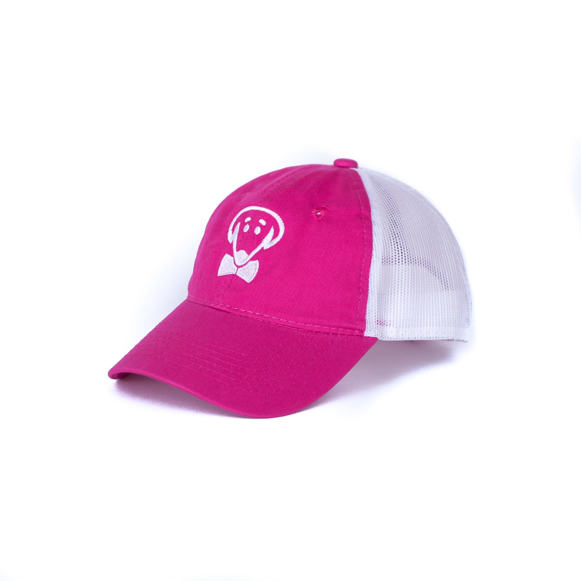 Bow Ties Dog Logo Ladies Baseball Hat-Fuchsia Pink and White