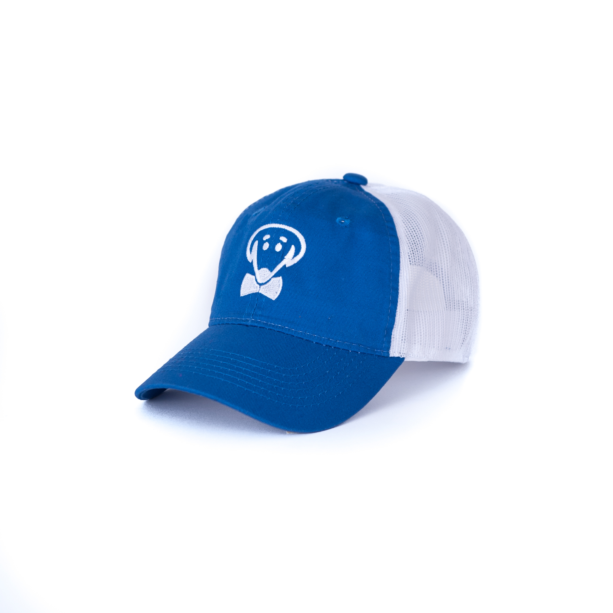 Bow Ties Dog Logo Baseball Hat-Royal Blue and White