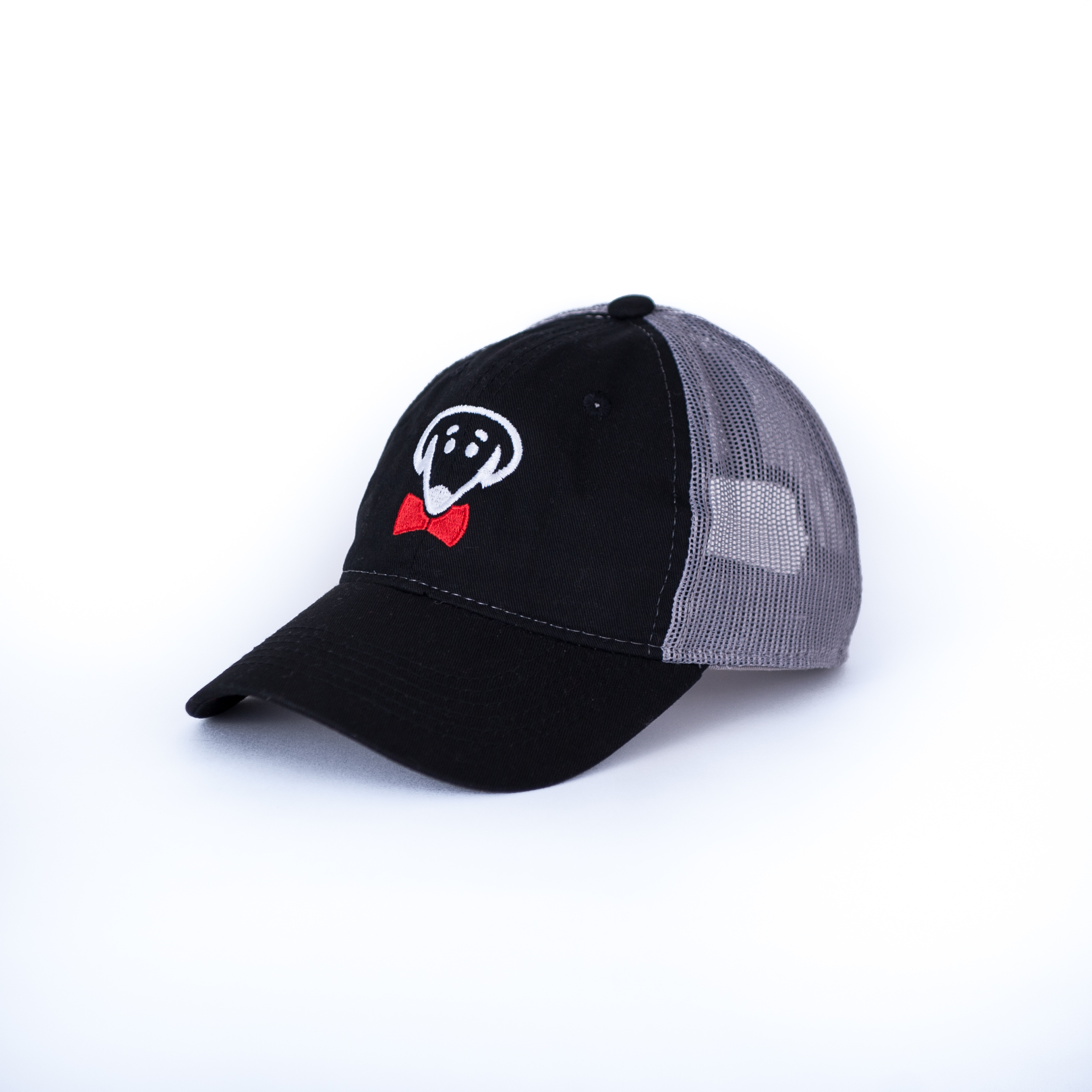 Bow Ties Dog Logo Baseball Hat-Black and Dark Gray