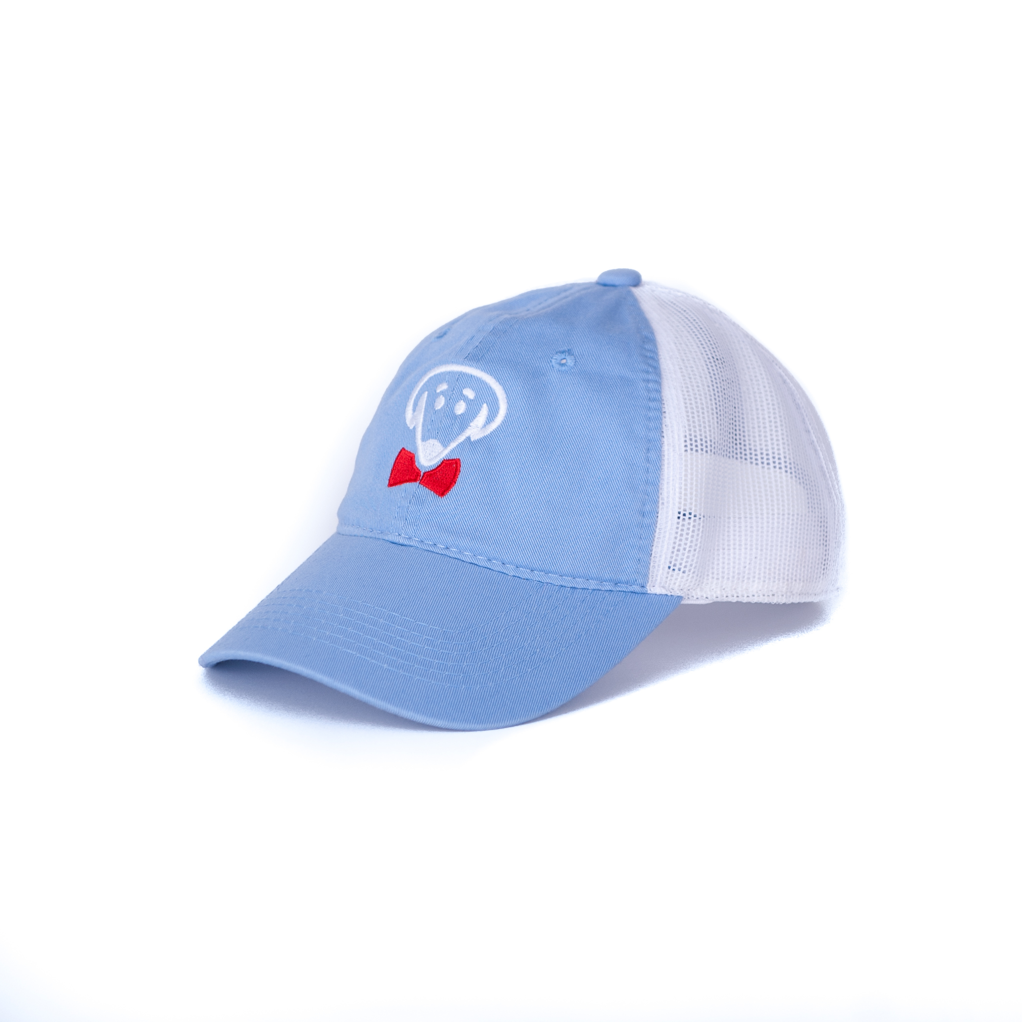 Bow Ties Dog Logo Baseball Hat-Light Blue and White