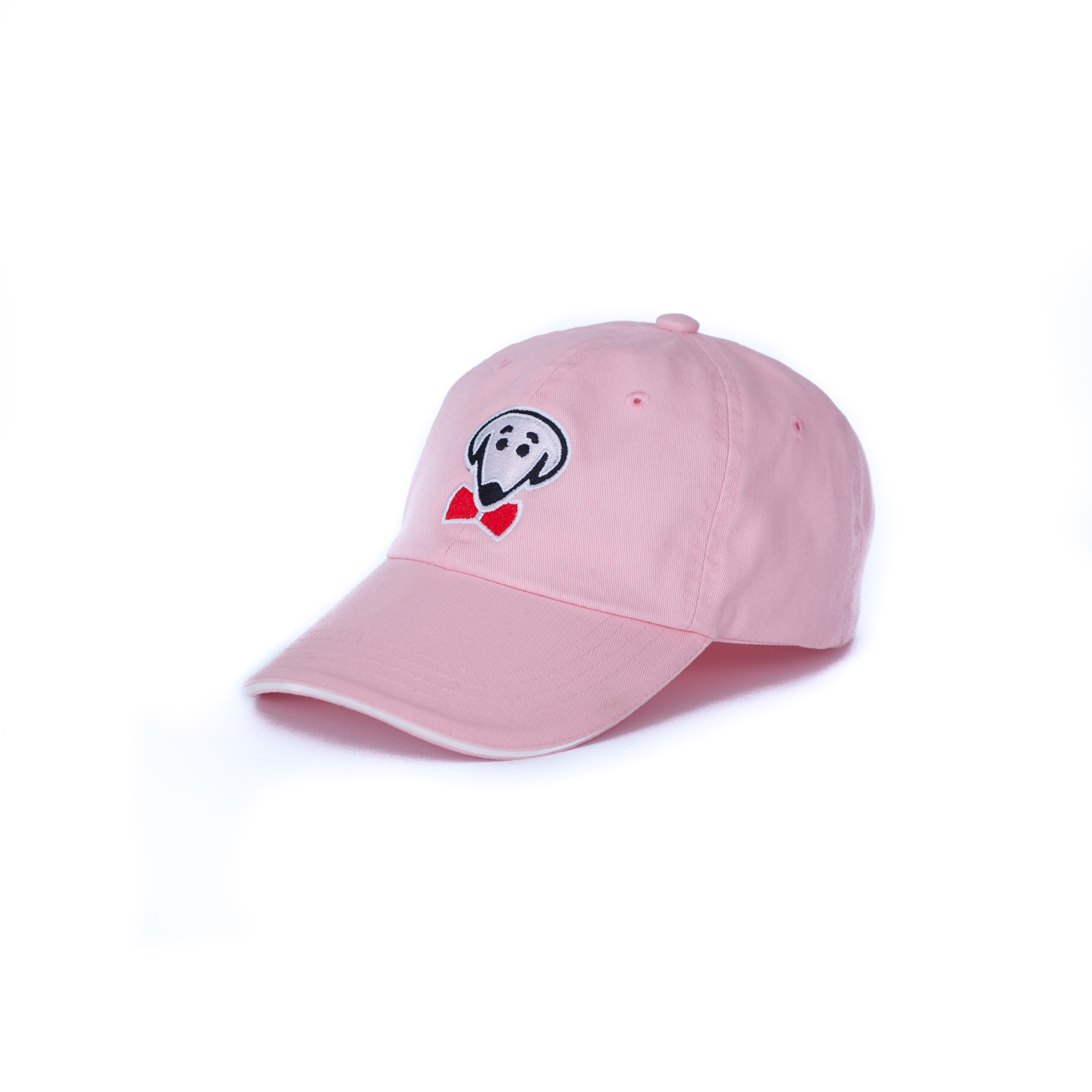 Bow Ties Dog Face Logo Baseball Hat-Light Pink with White