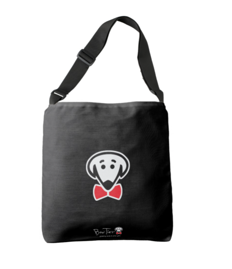 Cross body tote bag with Bow Ties dog logo